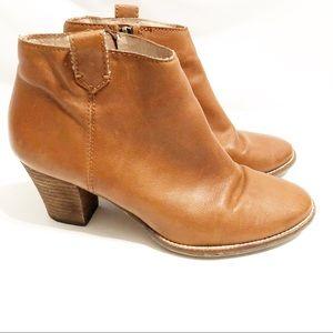 Madewell Billie Booties Cognac Pebbled Leather